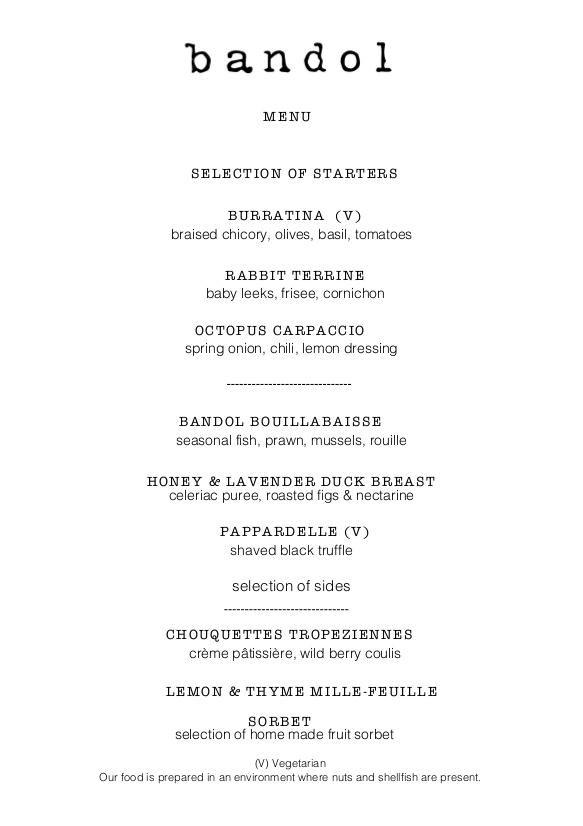 Bandol £45 Person Private Dining Menu - September 2017